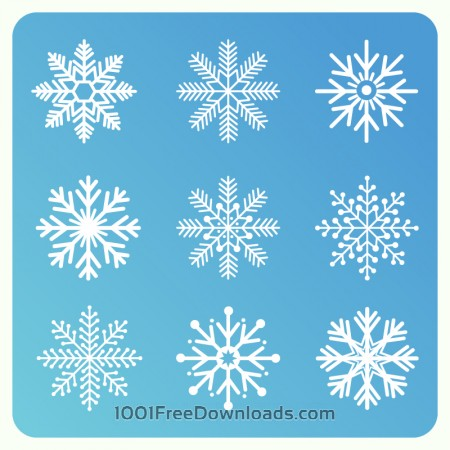 Free Christmas background with set of snowflakes