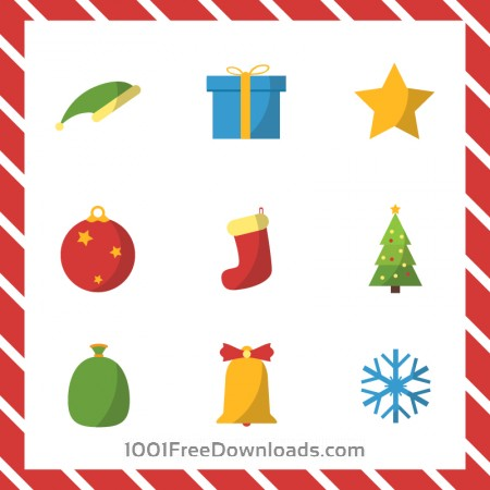 Free Christmas vector illustration with set of icons