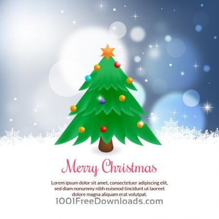 Free Christmas vector illustration with Christmas tree