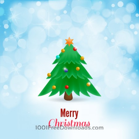 Free Christmas vector illustration with Christmas tree