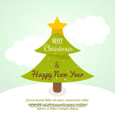 Free Christmas background with typography and christmas tree