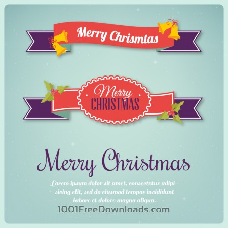 Free Christmas background with typography and ribbons