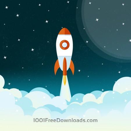 Free Space rocket flying illustration