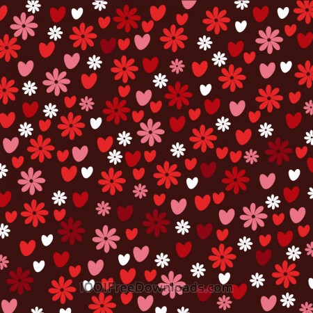 Free Love pattern with hearts and flowers