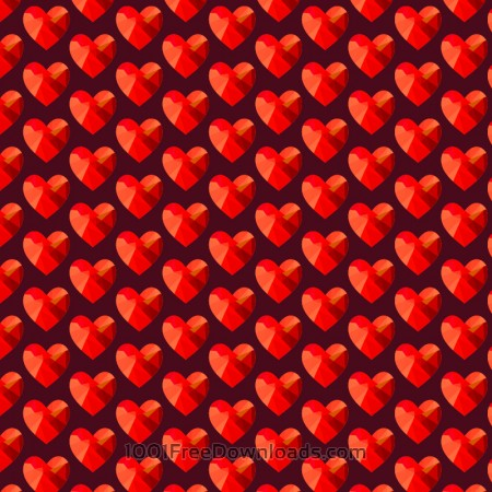 Free Love pattern with red abstract hearts
