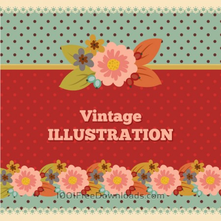 Free Vintage flower illustration with typography
