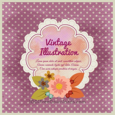 Free Vintage flower illustration with badge