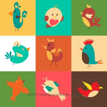Free Cartoon vector set with birds