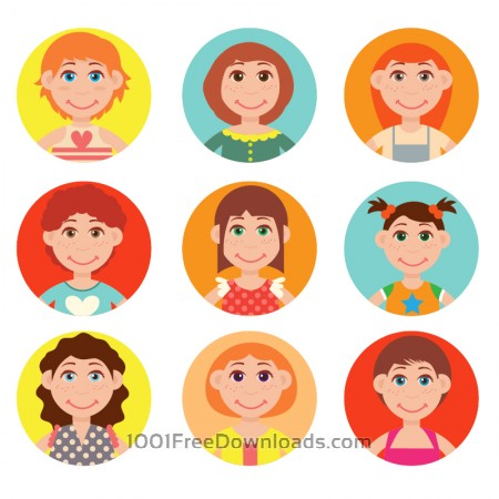 Free Cute avatars vector set