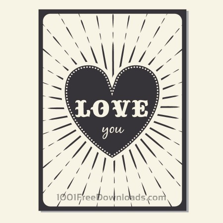 Vintage vector poster with love typography
