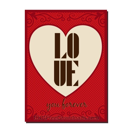 Free  Vintage vector poster with love typography