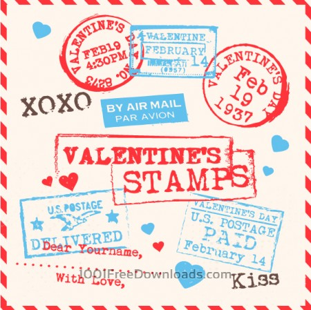 Free Various Valentines Stamps Background
