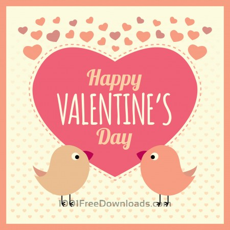 Free Valentines Card Background with Birds and Text