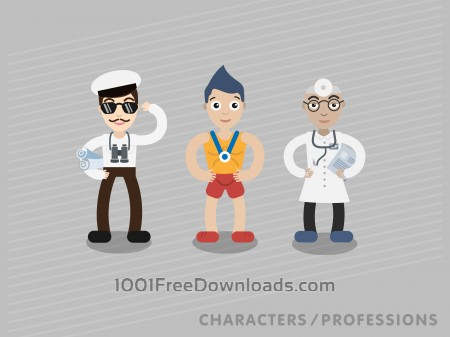 Free Three characters in different professions: shipman, sportsman, doctor