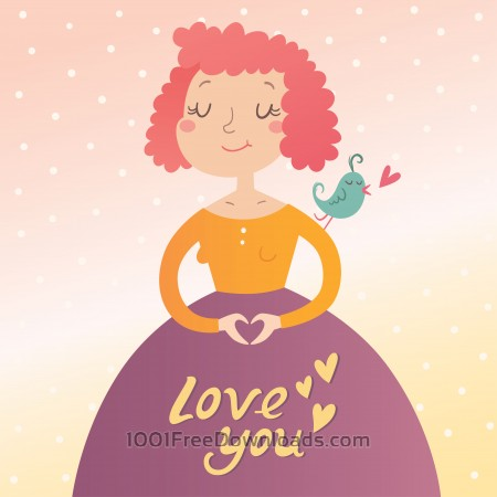 Free Vector illustration of young woman in love. Valentine's day card