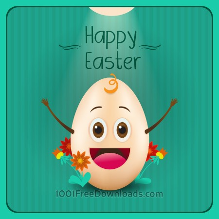 Free Easter illustration with flowers and cartoon egg
