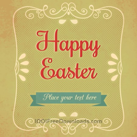 Free Vintage easter illustration with floral frame