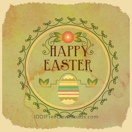 Free Vintage easter illustration with frame,egg and flowers