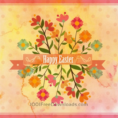 Free Vintage easter illustration with flowers