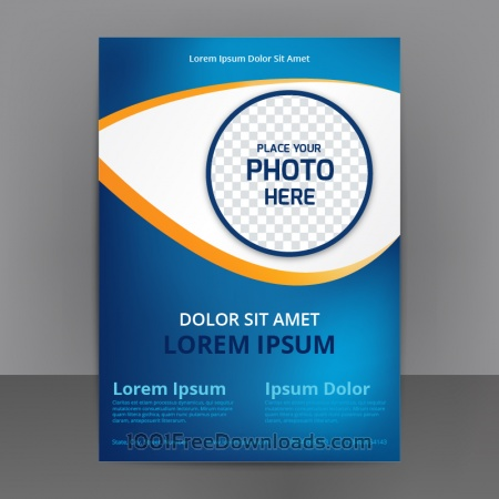 Free Business Abstract Flyer Template With blue Background