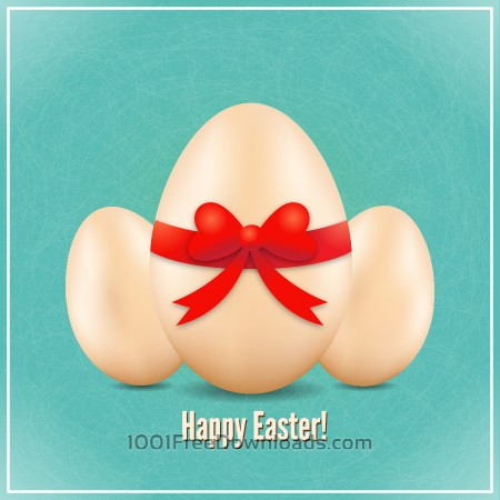 Free Easter illustration with realistic eggs and bow