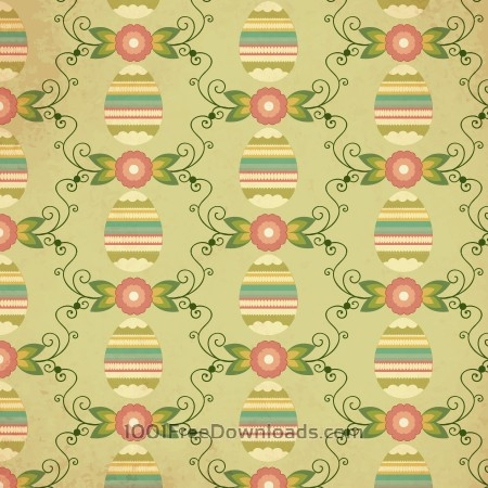 Free Easter pattern with egg, flower and decoration
