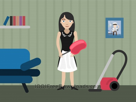Free Charwoman profession vector character illustration