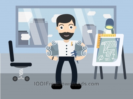 Free Architect profession vector character illustration