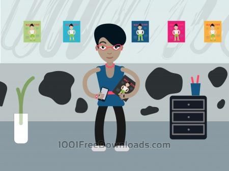 Free Desk editor profession vector character illustration