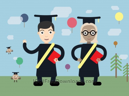 Free Two students vector character illustration
