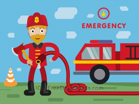 Free Fireman profession vector character illustration