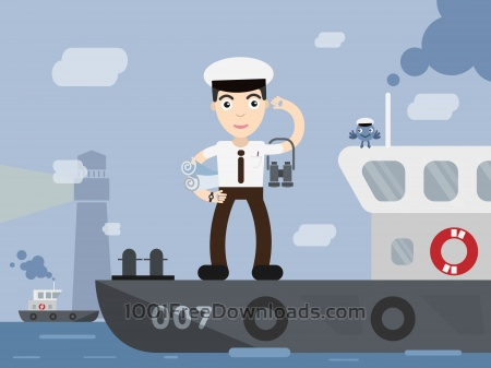 Free Shipman profession vector character illustration