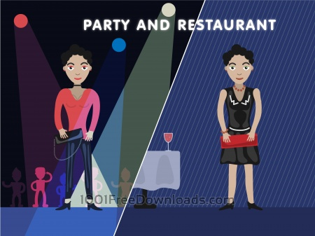 Free Party girl editor vector character illustration
