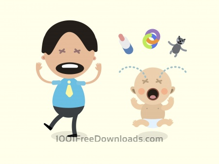 Free Vector cartoon family characters illustration