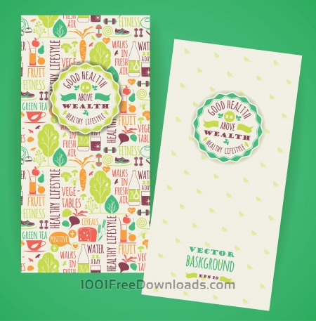 Free Healthy lifestyle flyers with typography. Vector pattern with illustration healthy lifestyle.