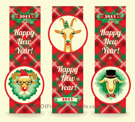 Free Happy Chinese New Year. Vector illustration of goat and sheep, symbol of 2015. Hipster style. Element for New Year's design. Image of 2015 year of the goat.