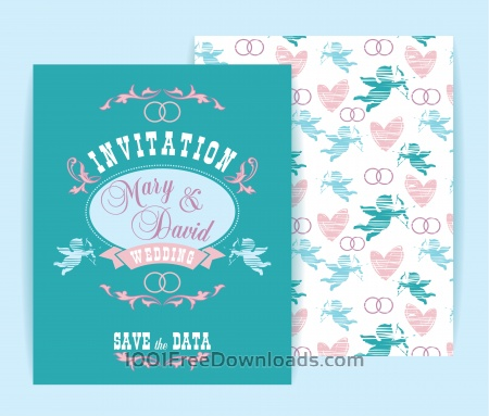 Free Wedding invitation. Vector illustration.