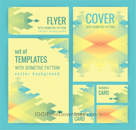 Free Set of business  templates with geometric pattern. Vector background.