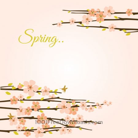 Free Vector spring background with flowering branches.