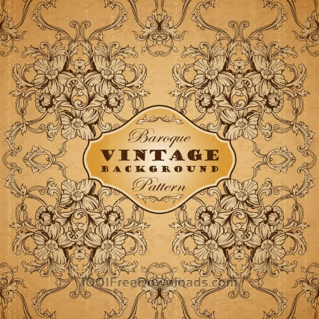 Free Vintage background with baroque pattern