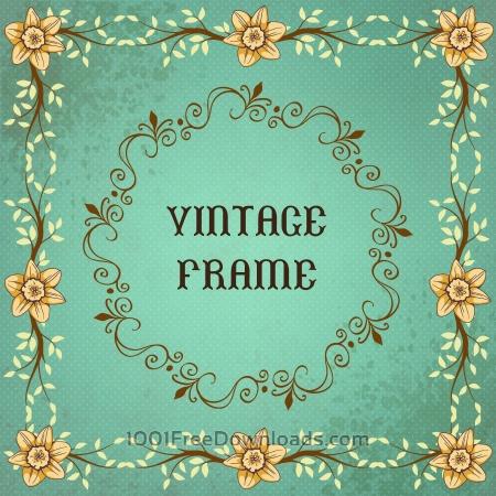 Free Vintage floral illustration with frame