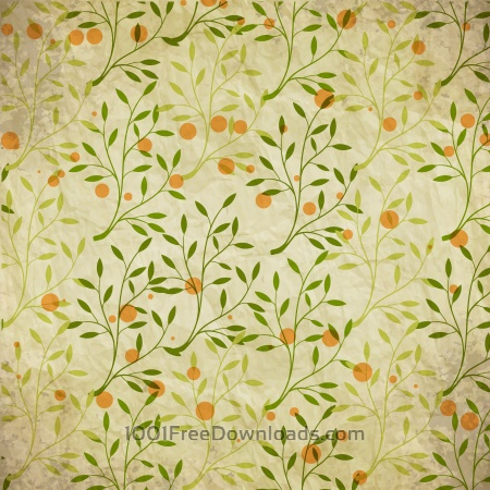 Free Vintage pattern with branches, leaves and dots