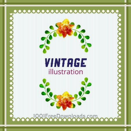 Free Vintage illustration with frame, leaves and flowers