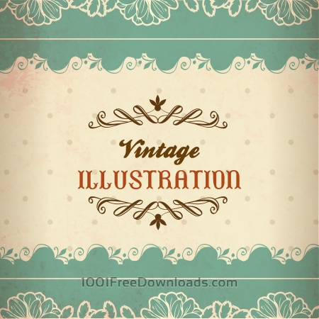 Free Vintage illustration with lace, flowers and typography