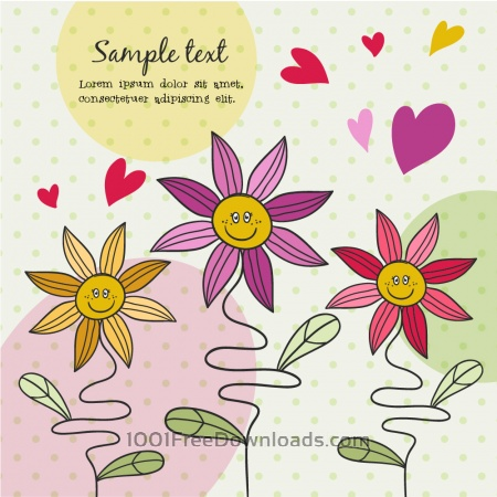 Free Doodle illustration with cute flowers