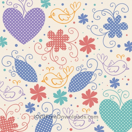 Free Vector illustration with hearts,birds and flowers