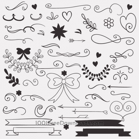 Free Set of doodle decorations