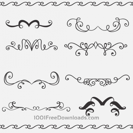 Free Vintage vector set of handdrawn decorations