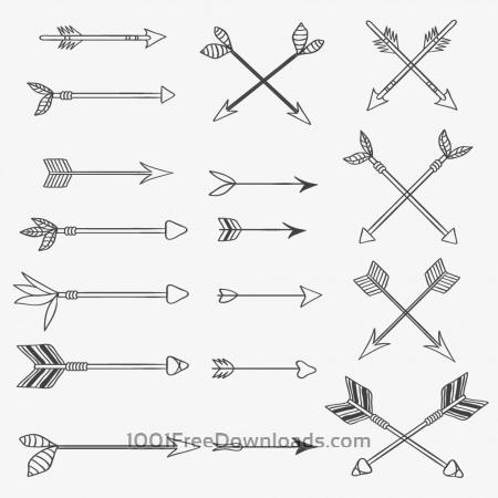 Free Vintage vector set of handdrawn arrows
