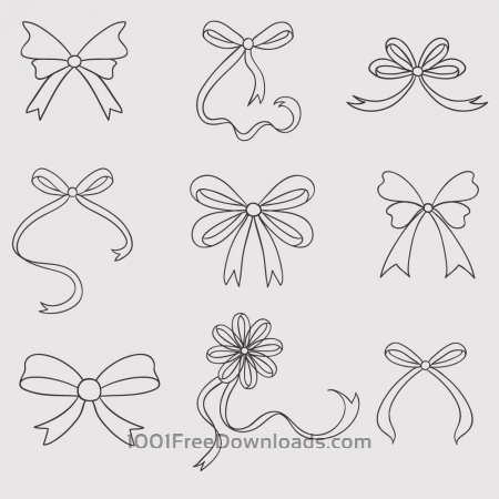 Free Vintage vector set of handdrawn bows